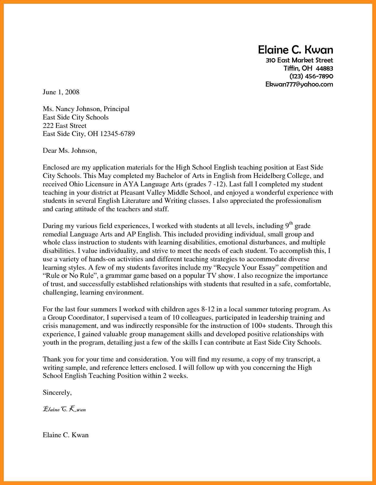 Teaching Job Application Letter Examples Blog Lif Co Id
