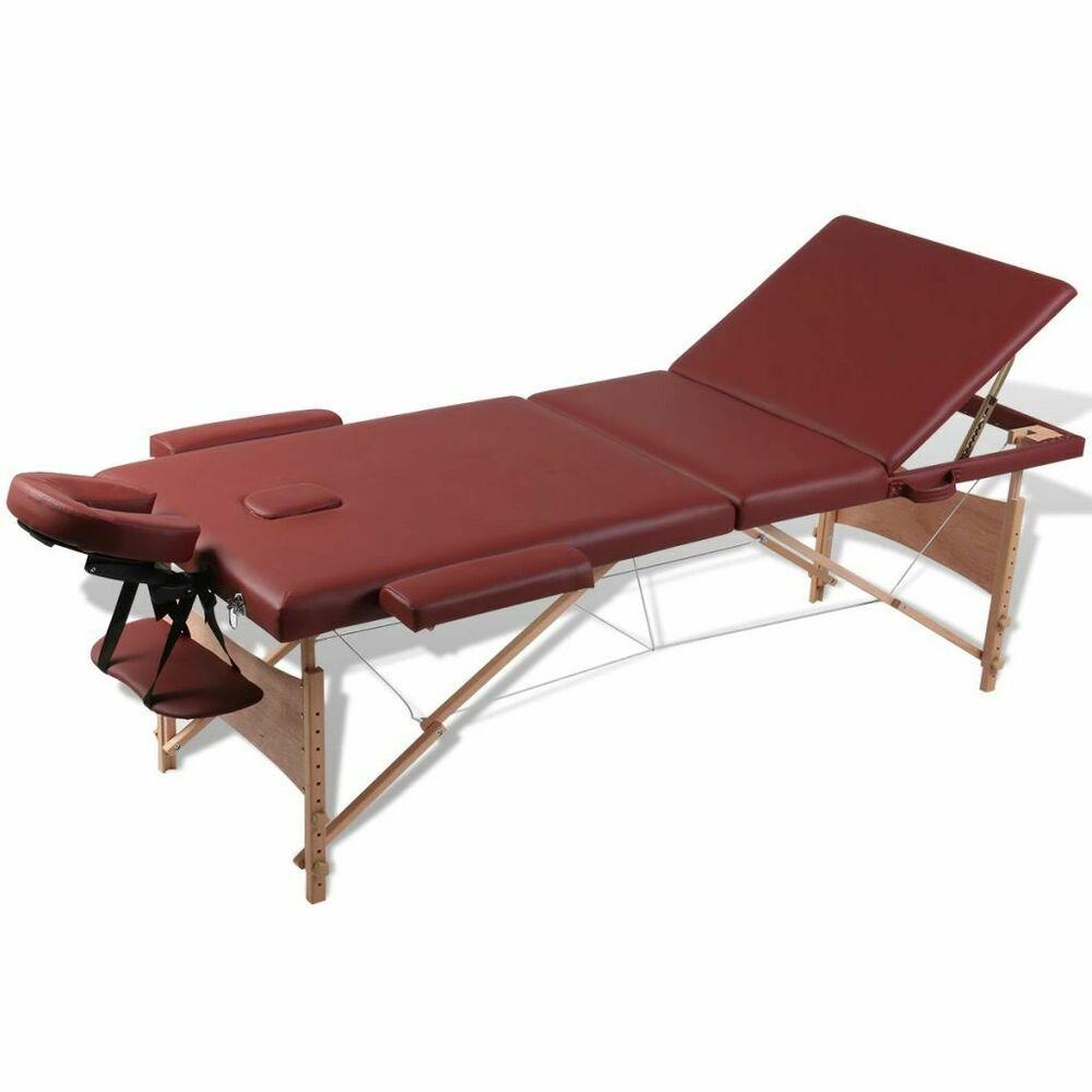 Vidaxl Table De Massage Pliante Lit De Massage 3 Zones Rouge Cadre Bois Avec Sac Massage Table Timber Frame Shiatsu Massage