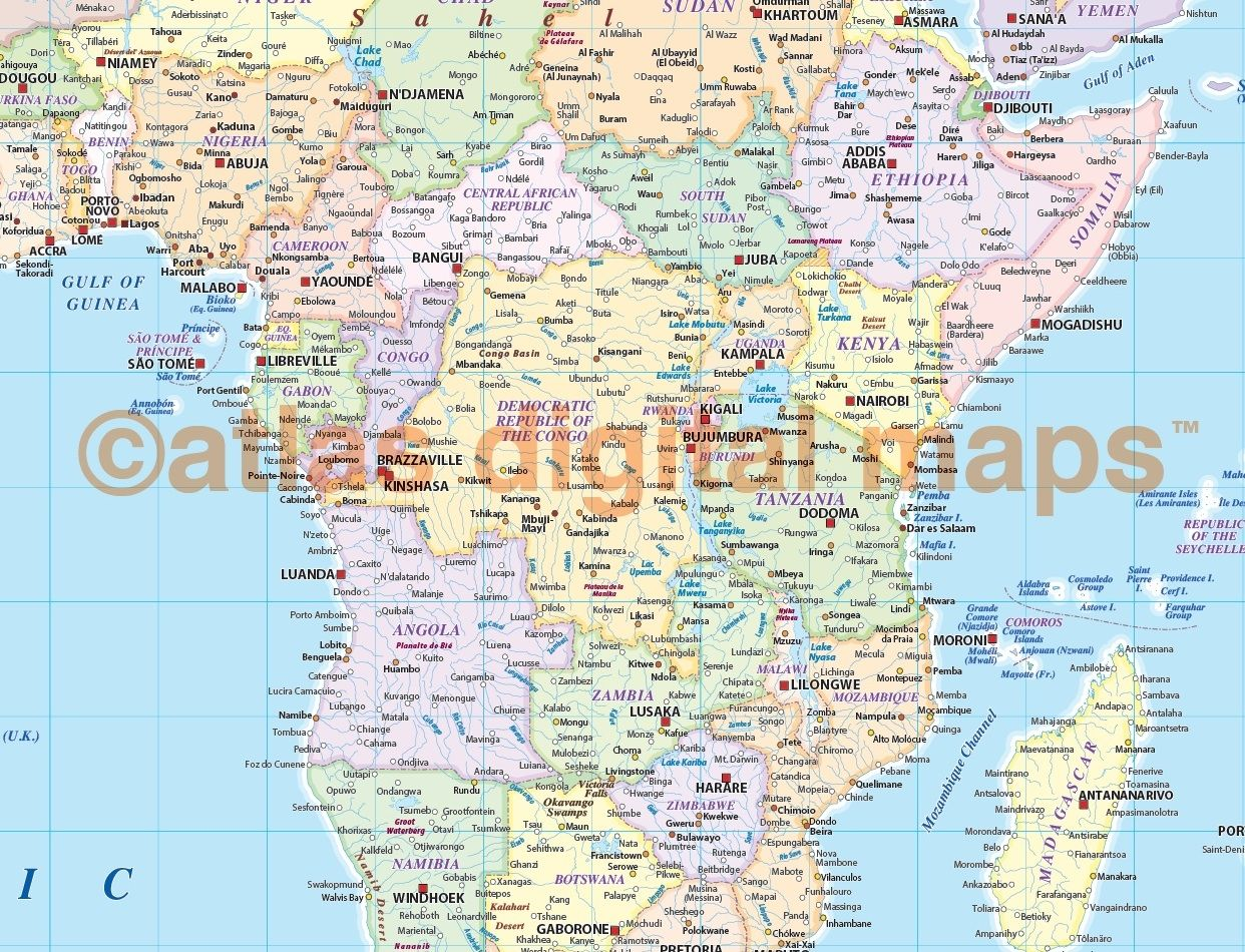 Extra-wide political map of Africa in pastel colours | Extra wide ...