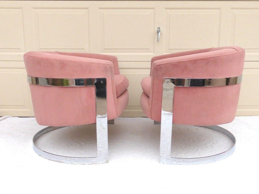 milo baughman barrel chairs pink