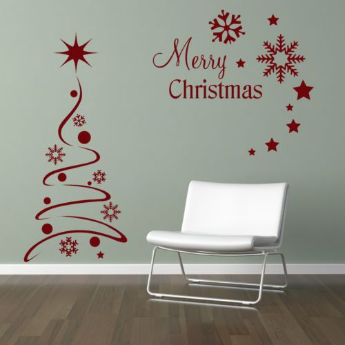 modern christmas tree sticker set / snow flakes & stars - vinyl wall