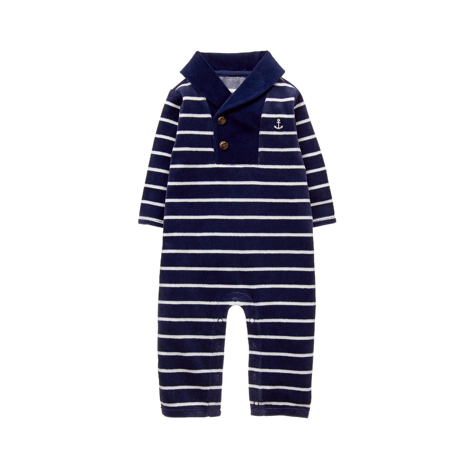 d40123366 Newborn Navy Stripe Striped Velvet 1-Piece by Janie and Jack ...