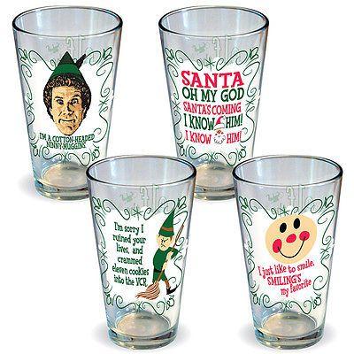 New Set 4 Elf Movie Pint Glasses Funny Holiday Film Christmas Beer Drinkware | eBay