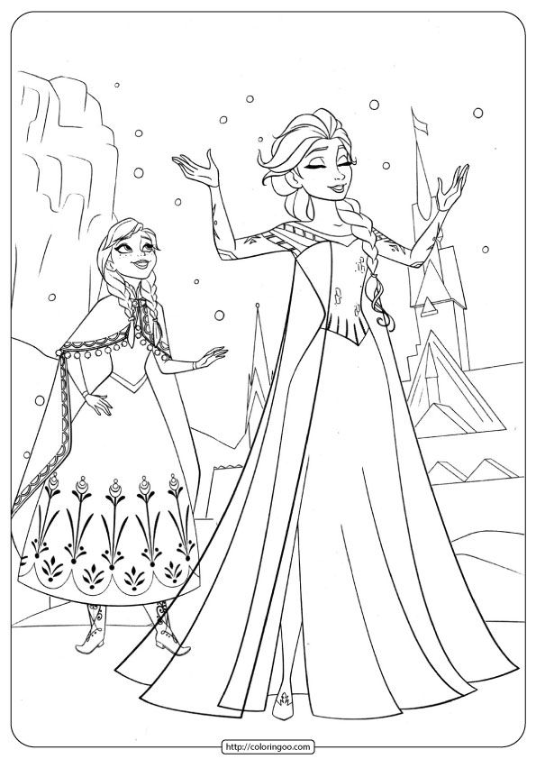 Frozen Anna & Elsa Coloring Pages Malvorlage prinzessin