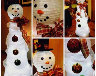 Deco Mesh Snowman Wreath with Lights by Decor4yourdoorbySara