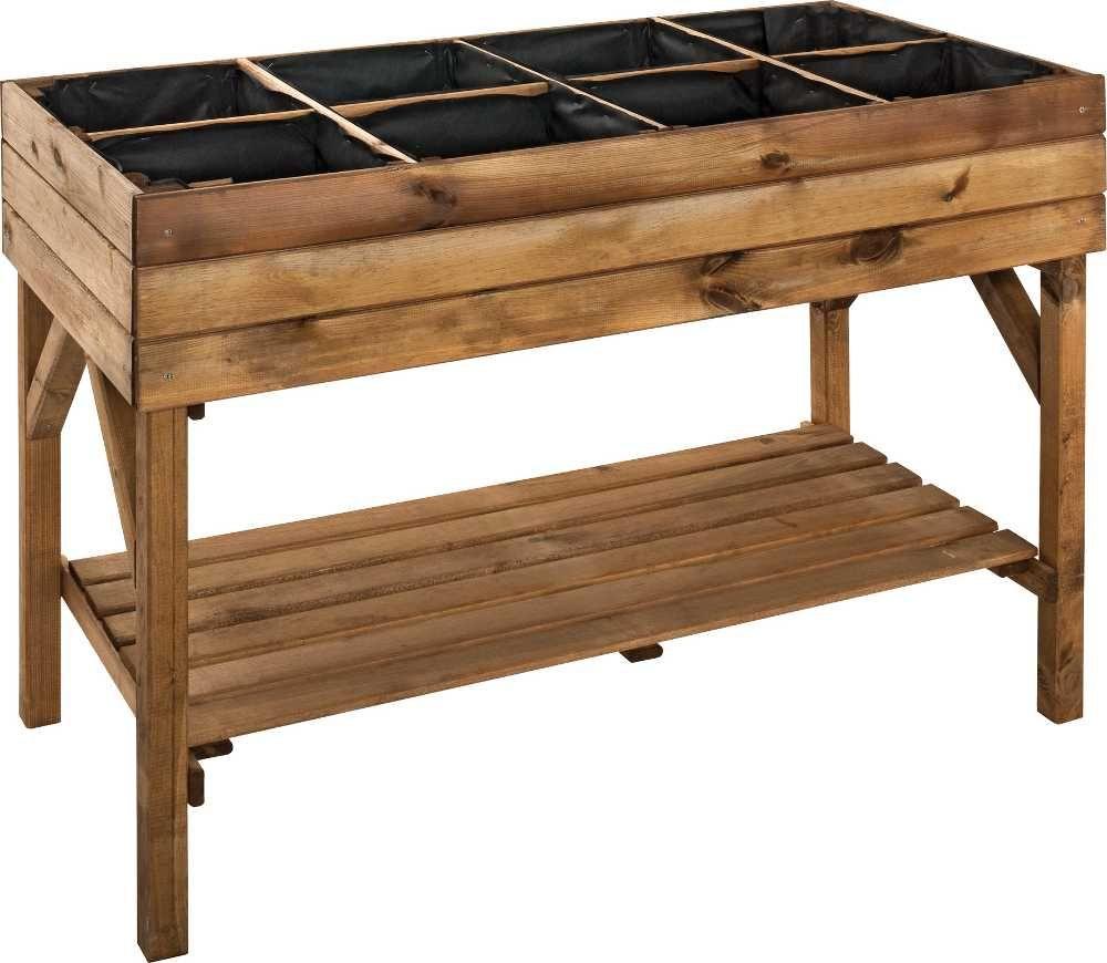 potager sur lev 8 carr s en pin teint marron encore un. Black Bedroom Furniture Sets. Home Design Ideas