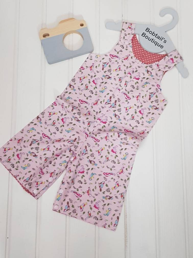 Little Bird Romper, Pink Bird Dungarees, Pink Spotted Romper,  Girls Playsuit, Girls Overalls, size 2 years, shorts dungarees
