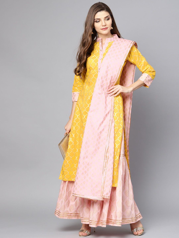 0513810e089 Buy Nayo Women Yellow   Peach Coloured Printed Kurta With Sharara   Dupatta  - Kurta Sets for Women