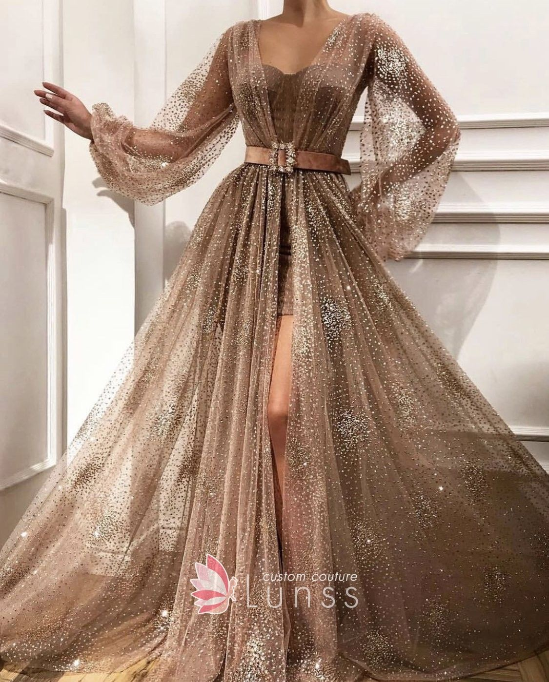 c8f8f3d8692e Glittery beaded light brown coffee sheer tulle overlay evening gown with  handmade embroidered belt. Sheer long sleeves. Thigh-high slit.