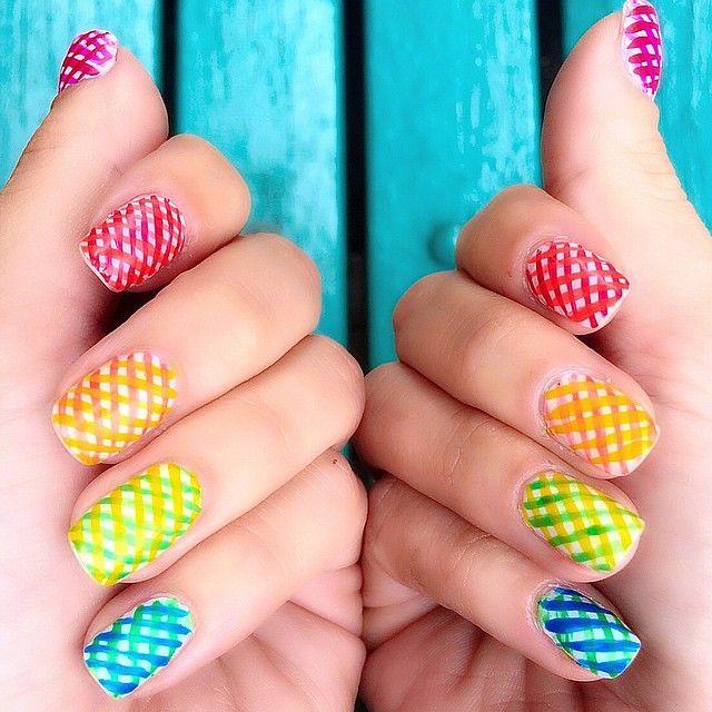Colorful Criss Cross Nailart Rainbow Pride Nails Missladyfinger