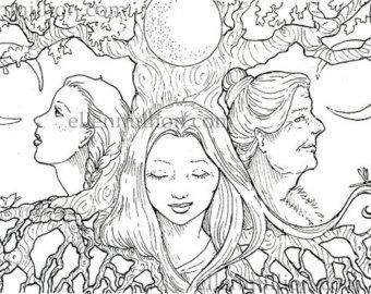 Triple Moon Goddess Coloring Pages Pagan Art Adult Sketch