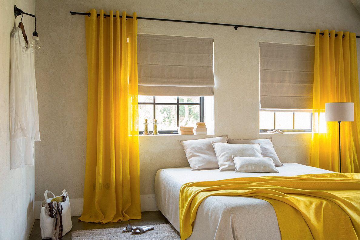 rideaux en lin jaune et stores bateaux occultants blancs interiorrrrr pinterest sleep. Black Bedroom Furniture Sets. Home Design Ideas