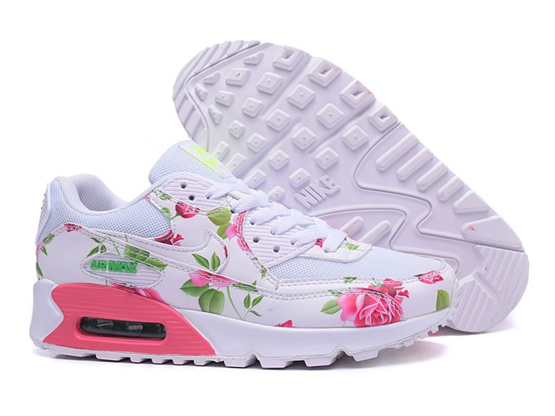 the latest 40add 40370 Nike Air Max 90 ID Chaussure de Running Pour Femme - Pas Cher Officiel  Blanc Rose motif de fleur