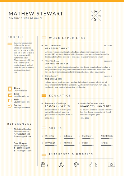 Dropkick Resume Templates Page Dividers Cv Template