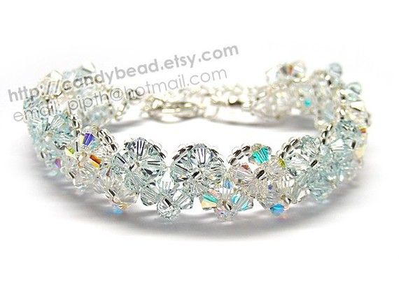 Sweet Light Blue and Aurora Borealis Swarovski Crystal Bracelet with adjustable clasp by CandyBead