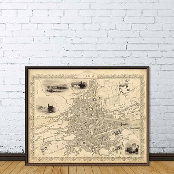Historical map of cork old city map restored fine reproduction a wonderful world map the city of cork uk originally published in 1851 by john rapkin publicscrutiny Choice Image