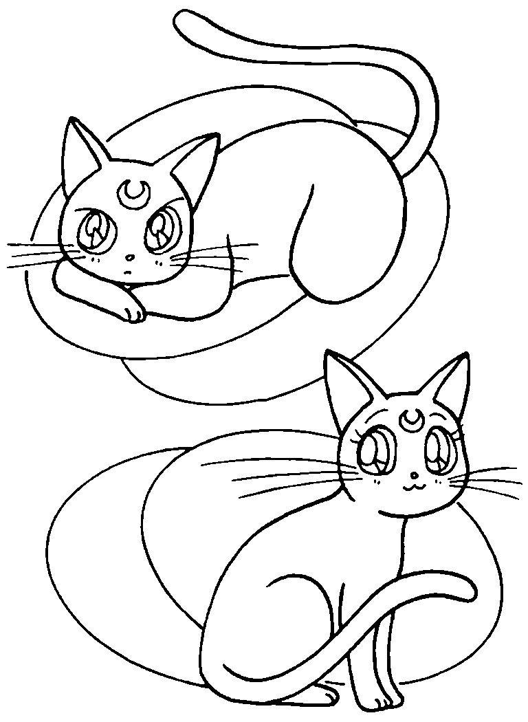 Artemis and Luna Coloring Page // #sailormoon | Sailor Moon ...