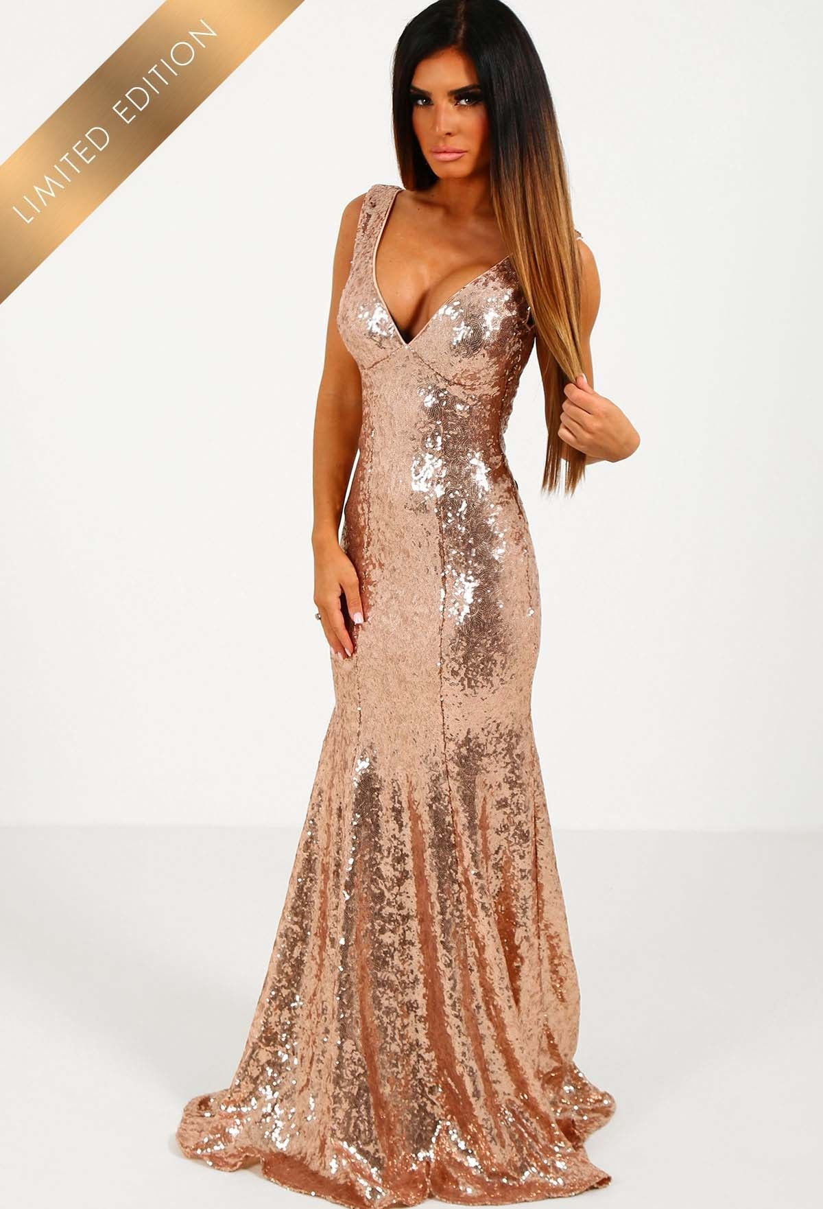 Limited edition sweet delight rose gold sequin plunge maxi dress