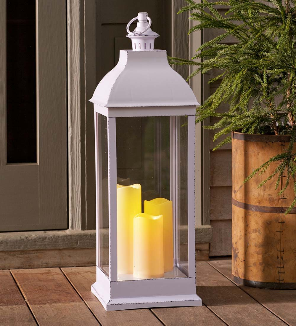 Outdoor Lantern With Led Candles This Grand Outdoor Lantern With Led Candles Add A Safe Yet Magical Light To Any Pa With Images Outdoor Lanterns Led Candles Candle Decor