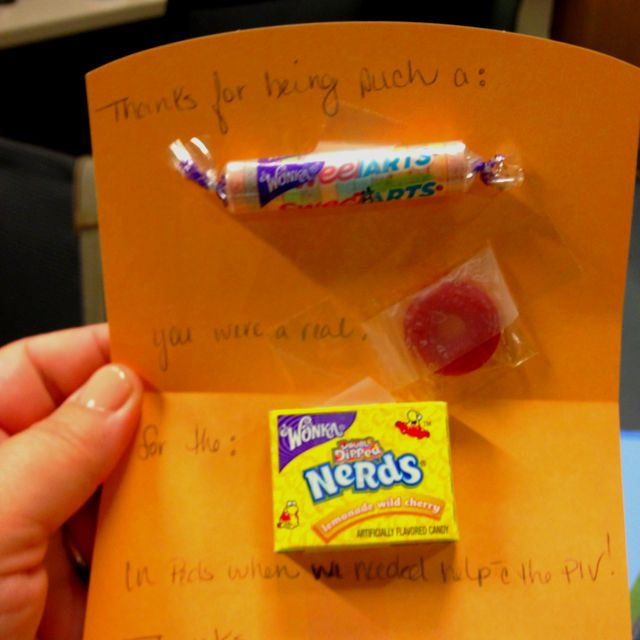 Thank you note from the Pediatric Unit to me, for helping start an - nursing thank you letter