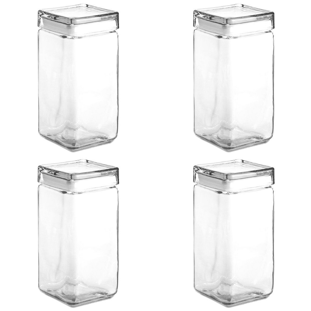 Space in the kitchen by adding shelves and glass canisters with seals - Set Of 4 Anchor Hocking Stackable Glass Storage Jars Containers Airtight Seal Food Storage Canister Hurry Check Out This Great Product Kitchen Storage