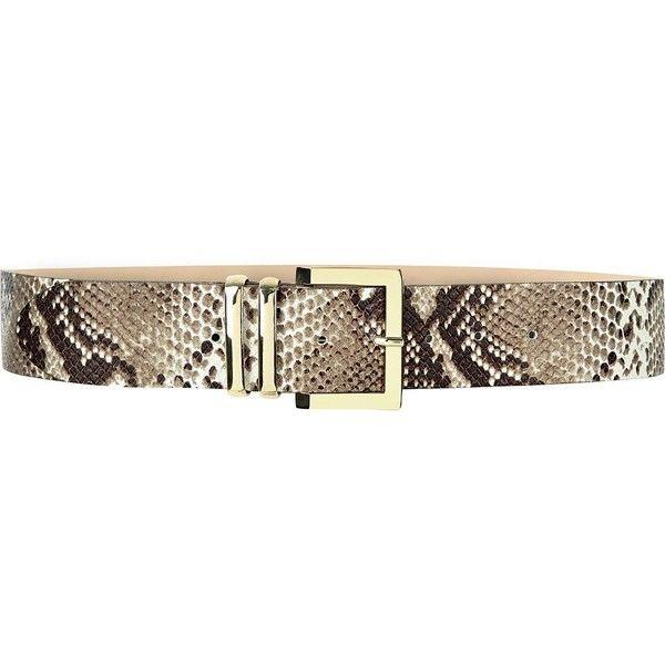 River Island Beige snake print belt ($50) ❤ liked on Polyvore featuring accessories, belts, beige, women, buckle belt, beige belt and river island