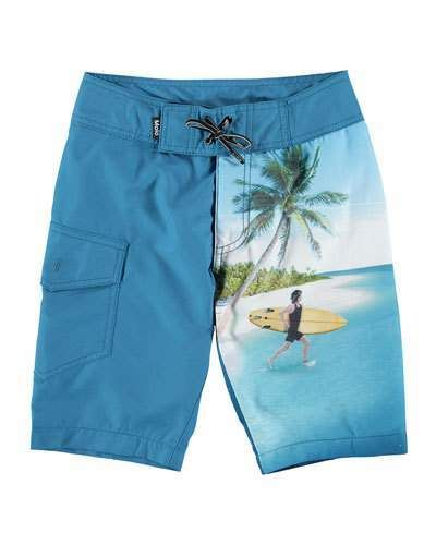 025566452c79b Molo Nalvaro Contrast Surfer & Sea Creature Print Board Shorts, Size 2T-12