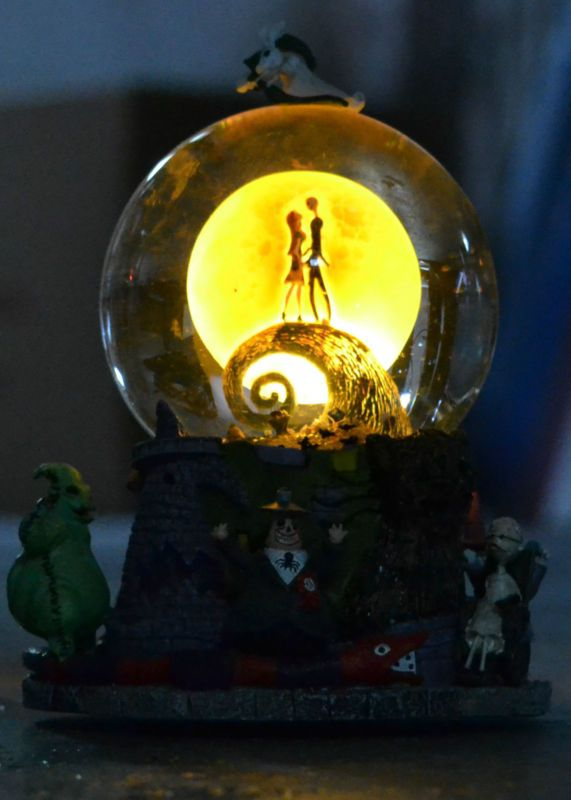 Nightmare Before Christmas First Snowglobe Lights Up W Music Box  - Nightmare Before Christmas Light
