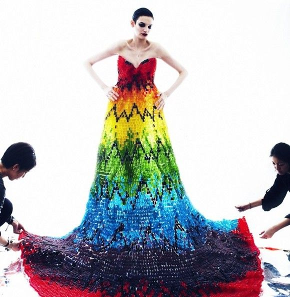 A dress made out 50,000 gummy bears! Watch out for the ants! (I love the color, and the McQueen inspiration.)