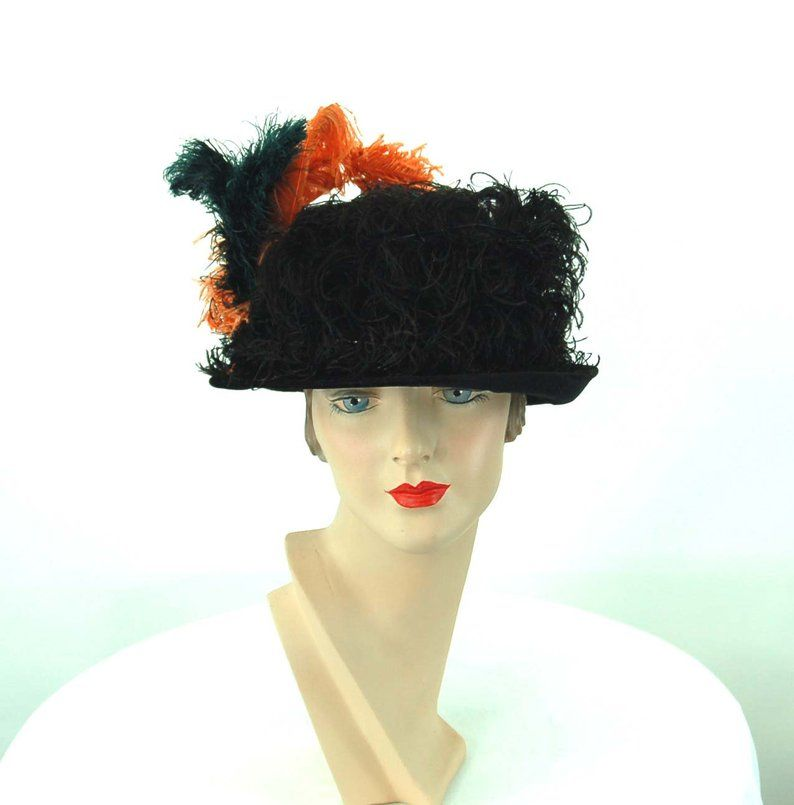 1920s Black Velvet Hat With Curly Ostrich Feathers Size 23 Etsy Velvet Hat Beautiful Hats Hats For Sale