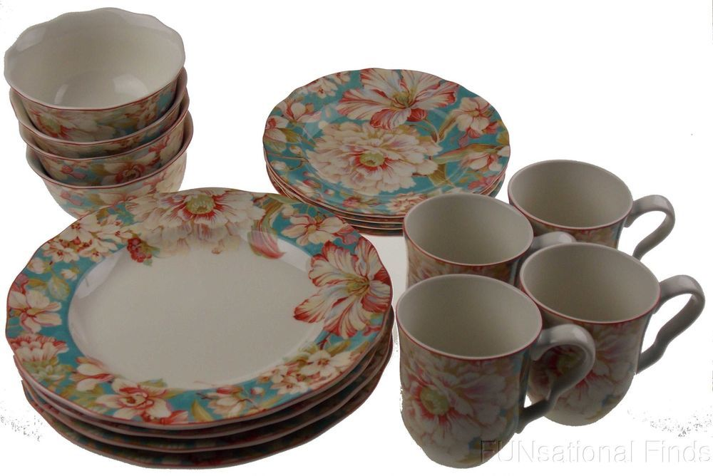 222 Fifth Marley Teal Porcelain Dinnerware 16Pc Set Dinner Salad ...