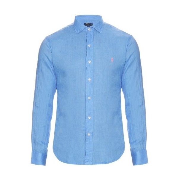 340200d1 Polo Ralph Lauren Long-sleeved linen shirt ($113) ❤ liked on Polyvore  featuring
