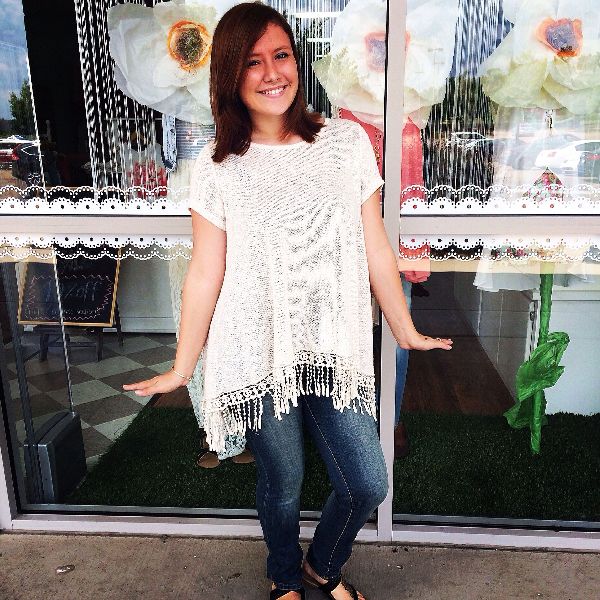 Simple, sweet, and SO CUTE. We love the new cream fringe too paired with our new skinnies!!! Perfect for a back to school outfit!