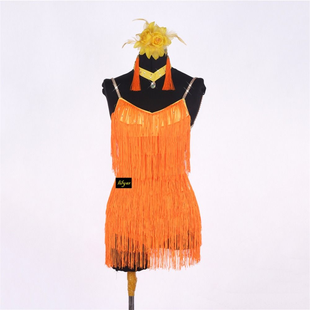 dbf2d70b4c441 Click to Buy << Sexy Latino Dancing Dresses For Ladies Orange Color ...