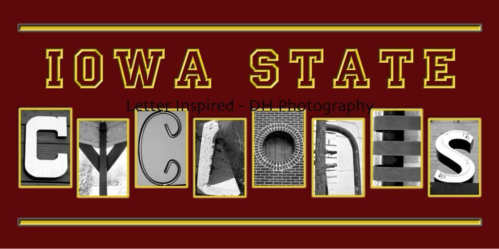 Iowa State Cyclones Black White Alphabet Photography 26 00