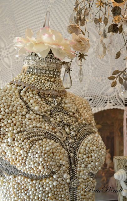 Mammabellarte  Vignettes, dress form, mannequin , pearls lots of them!