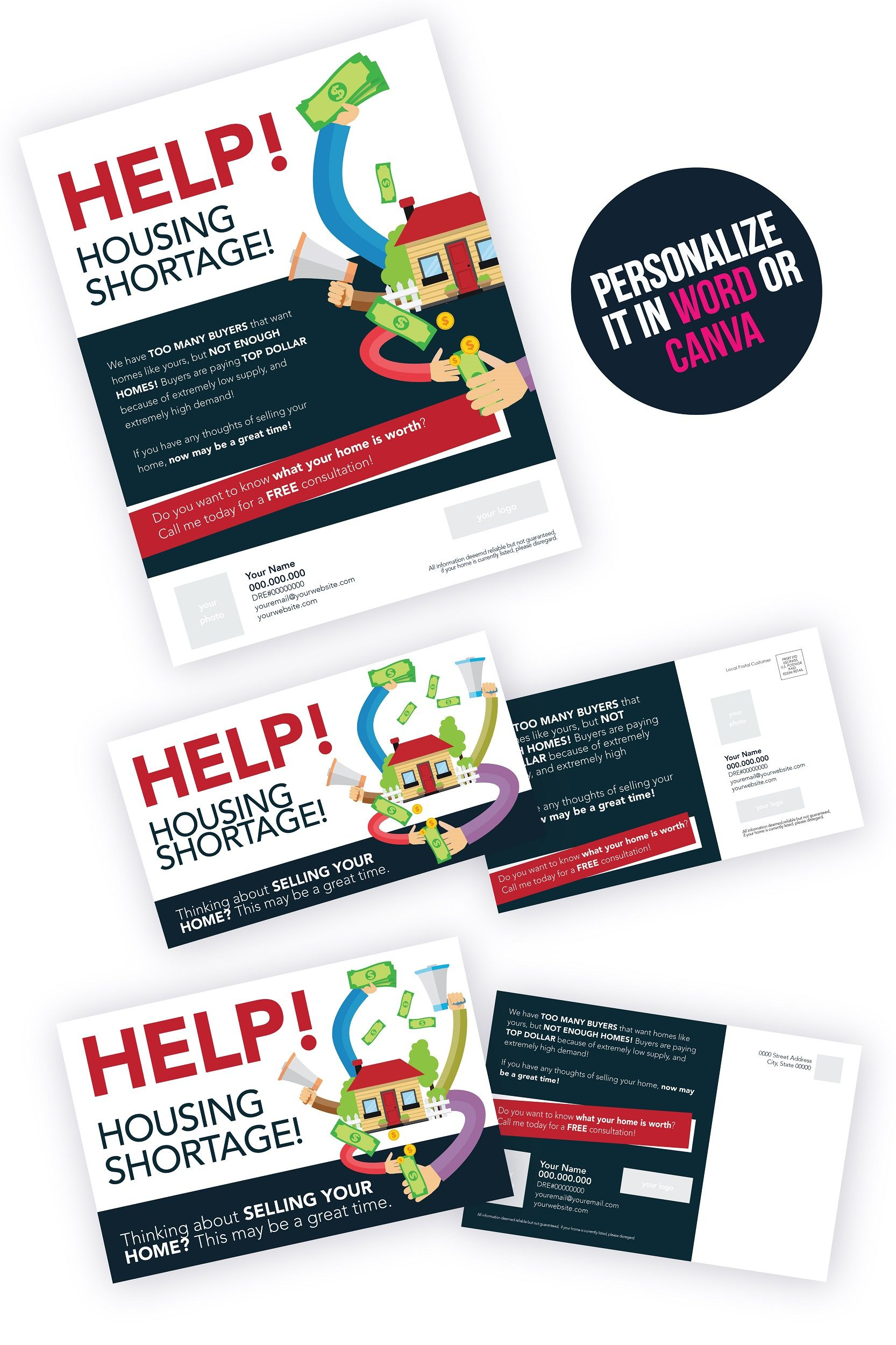 Realtor Marketing Real Estate Agent Marketing Ideas The Real Estate Market Is Hot Postcard Template And Flyer Template For A Realtor In 2021 Real Estate Marketing Postcards Real Estate Agent Marketing