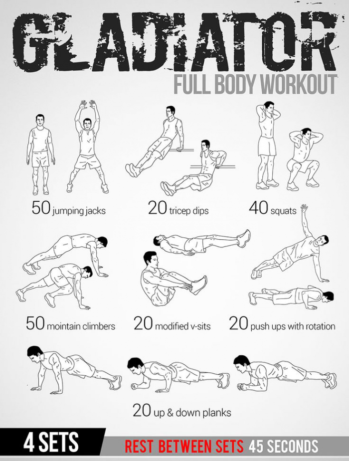 Gladiator Full Body Workout Plan - Healthy Fitness Tips Routine ...