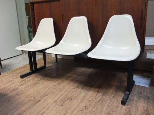 eames shell chair style airport 3 seat bench - mid century modern