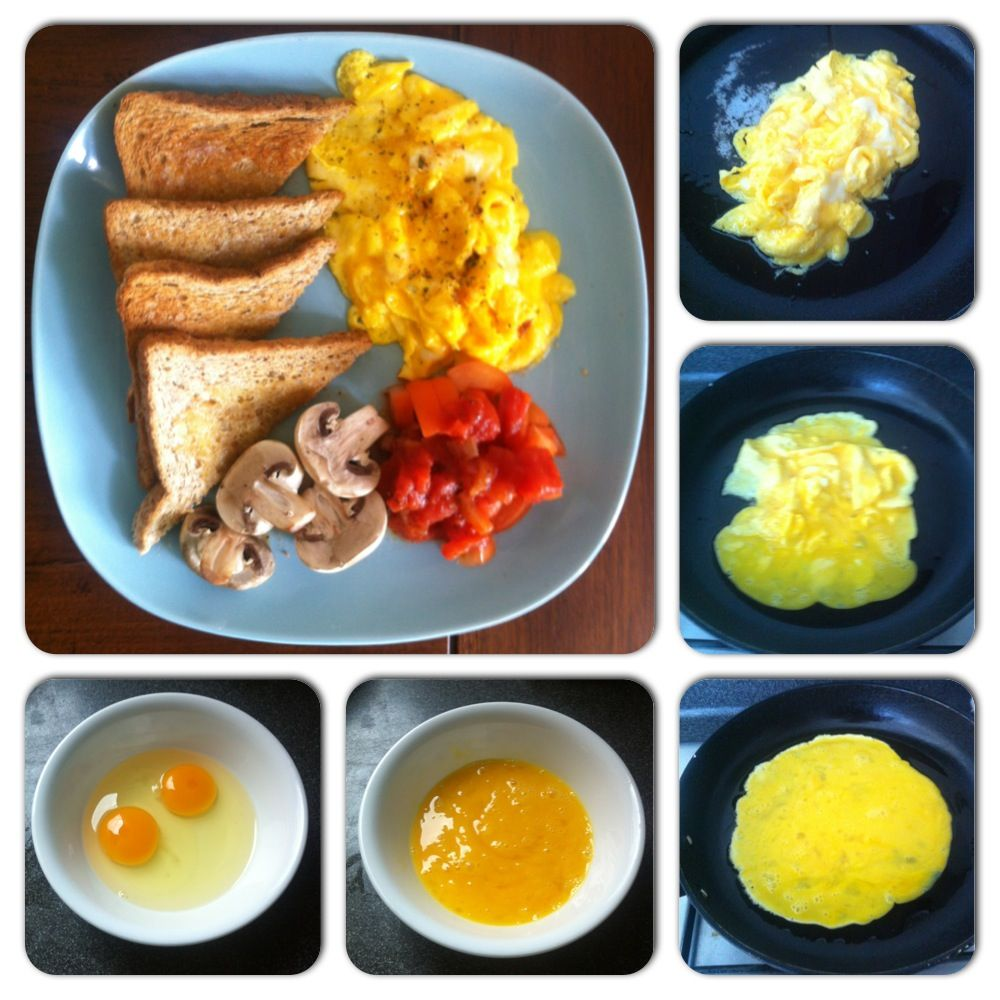 I ❤ breakfast. Here's how to make delicious, slightly runny scrambled eggs. (1) Lightly beat two eggs in a bowl. (2) Heat 1-2 Tbsp oil on a non-stick frying pan over medium heat. (3)  When the oil starts to glisten, which means it's hot enough, add eggs. (4) As eggs slowly set, use spatula to gently drag the cooked parts of the egg inwards. And keep doing it until most of the egg is cooked, leaving   it a little runny on top. (5) Turn off heat and transfer eggs onto plate. Season with salt…