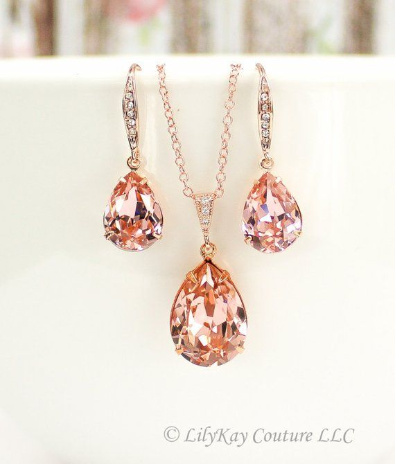Morganite Earrings Rose Gold Blush Pink Bridesmaid Jewelry Bridal Necklace Earring Petal