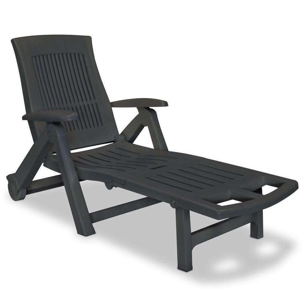 White Plastic Sun Loungers Plastic Garden Sun Lounger Deck Chair Anthracite Color Balcony