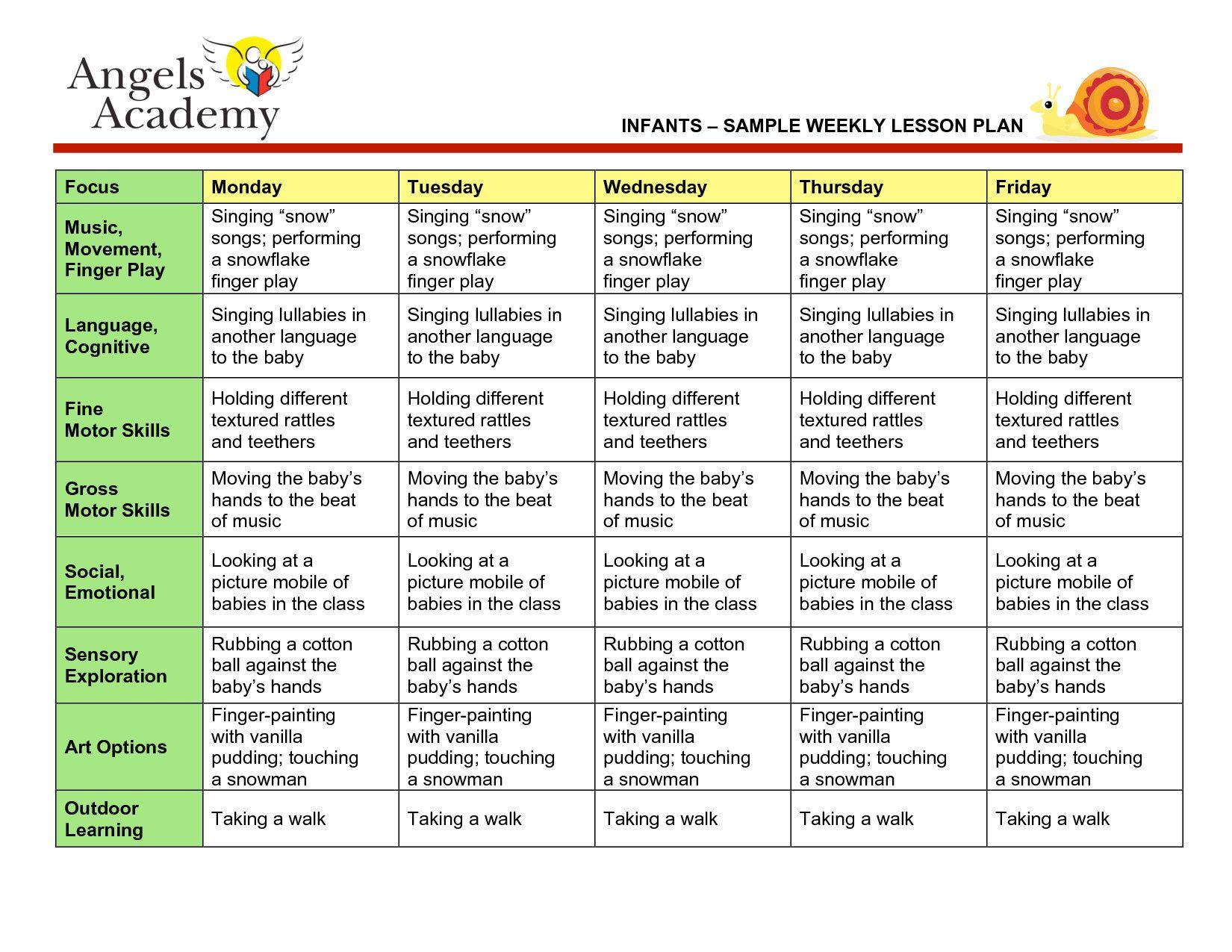 Week Long Lesson Plan Template New Blank Lesson Plan Template Infant Lesson Plans Curriculum Lesson Plans Lesson Plans For Toddlers