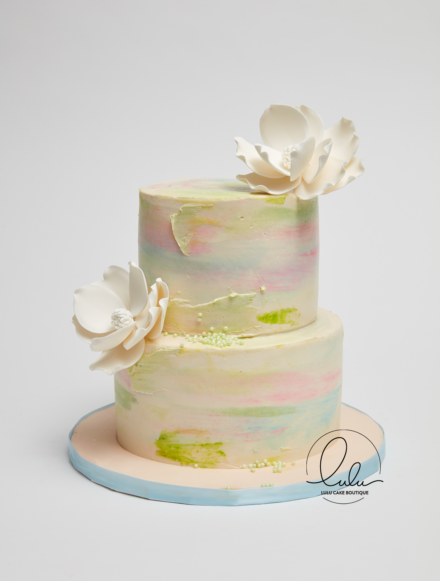 Multi Color Watercolor Cake with Edible Flowers, 100% Pure ...