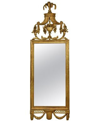 "Hollyhock | Carved and Gilt Wood Pier Mirror with Elaborate Cornice, c. 1800 Print Tear Sheet > Dimensions H: 71 ½"" W: 23 ¾"""