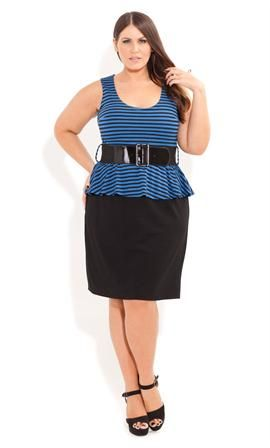 Stripe Peplum Dress Plus Size Dresses Onestopplus Plus