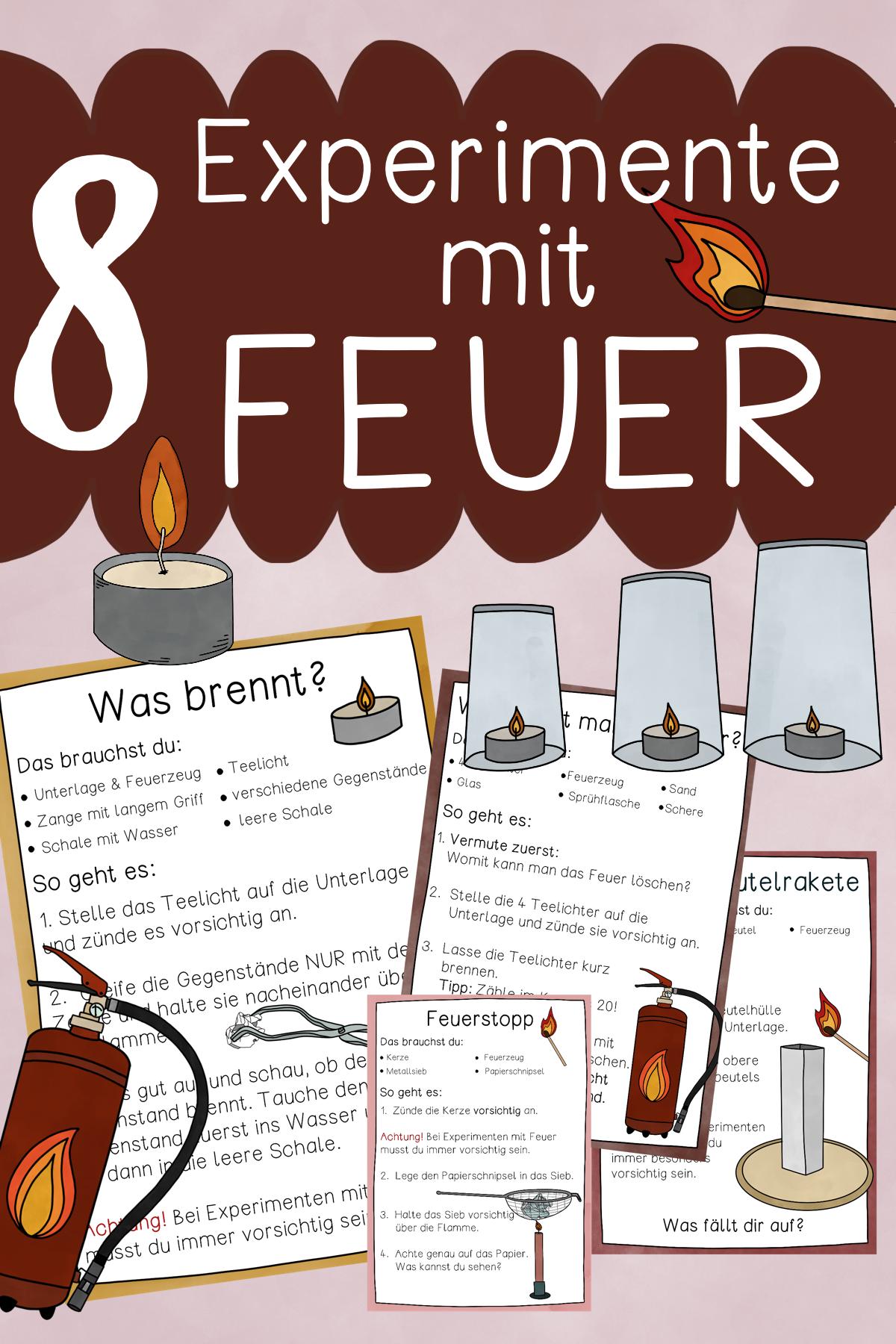 Experimente mit Feuer – Stationenkarten & Anleitungen