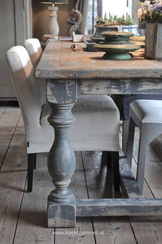 Kasteeltafel Met Sleetse Uitstraling Vintage Dining Table Farmhouse Dining Room Table Farmhouse Dining