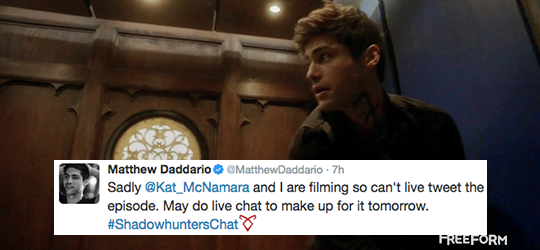 "Fuck Yeah Shadowhunters : queencorazon: Matthew Daddario + ""livetweeting"" By..."