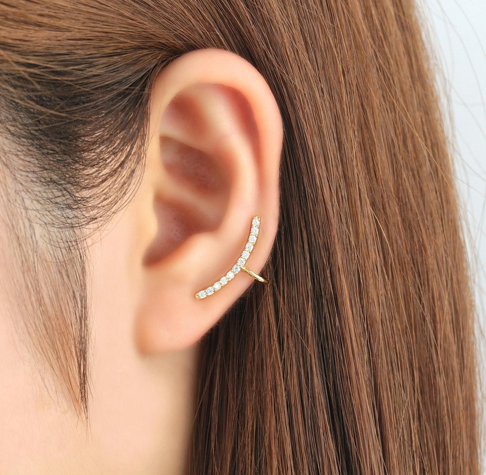 Pair of Round and Baguette Cut CZ 14K Gold Plated Ear Crawler Climber Earrings